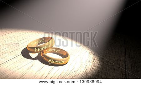 3D rendering couple golden ring with eternity engraved