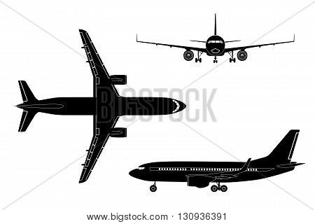 Black airplane silhouette on a white background. Top view front view side view. Vector illustration