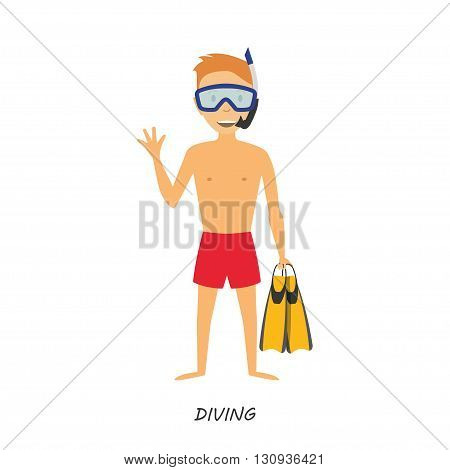 Figure diver in cartoon style on white background. Summer rest. Diving. Vector illustration