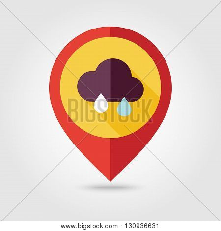 Rain Cloud flat pin map icon. Map pointer. Map markers. Meteorology. Weather. Vector illustration eps 10