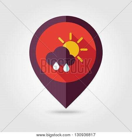 Sun with Rain Cloud flat pin map icon. Map pointer. Map markers. Meteorology. Weather. Vector illustration eps 10