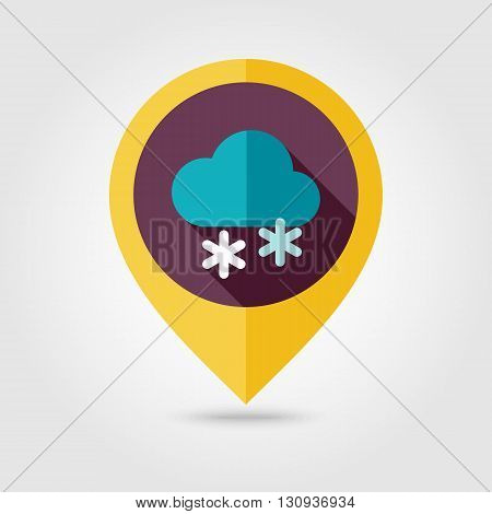 Cloud with Snow flat pin map icon. Map pointer. Map markers. Meteorology. Weather. Vector illustration eps 10