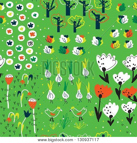 Funny garden seamless pattern in spring with flowers trees vegetables animals. Funny vector design.