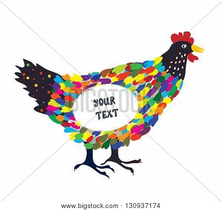 Decorative hen for the card or background with frame hand drawn design vector illustration
