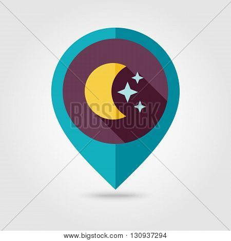 Moon and stars flat pin map icon. Map pointer. Map markers. Sleep dreams symbol. Meteorology. Weather. Vector illustration eps 10