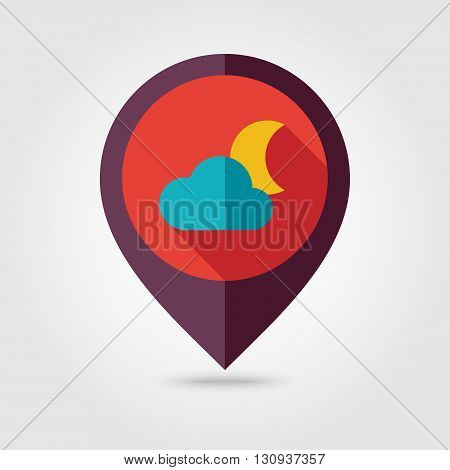 Cloud Moon flat pin map icon. Map pointer. Map markers. Sleep dreams symbol. Meteorology. Weather. Vector illustration eps 10