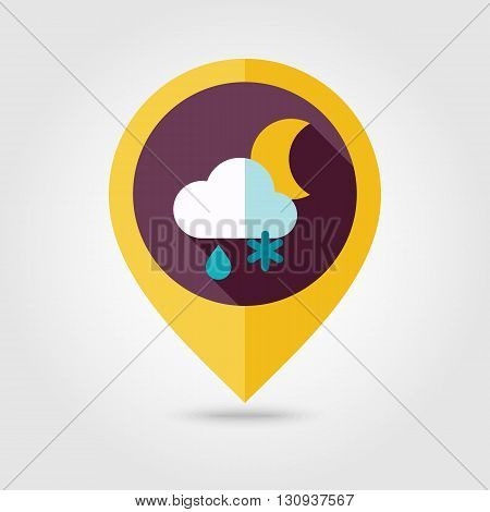 Cloud with Snow and Rain Moon flat pin map icon. Map pointer. Map markers. Meteorology. Weather. Vector illustration eps 10
