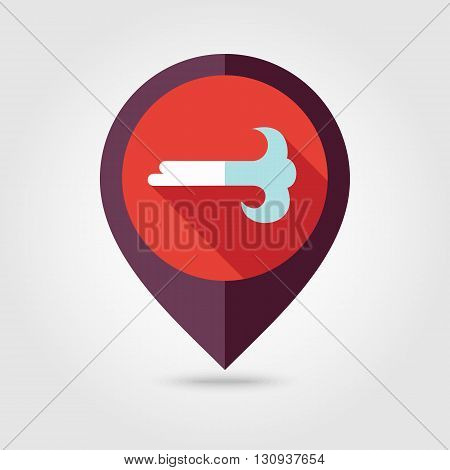 Wind flat pin map icon. Map pointer. Map markers. Meteorology. Weather. Vector illustration eps 10