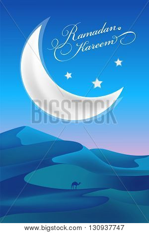 Crescent moon and night desert. Ramadan kareem congratulation card.