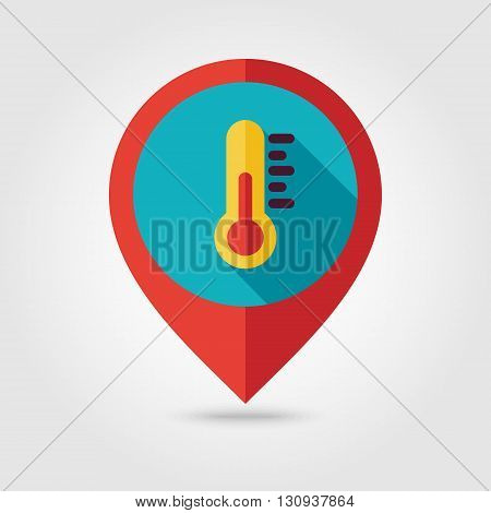 Thermometer flat pin map icon. Map pointer. Map markers. Meteorology. Weather. Vector illustration eps 10