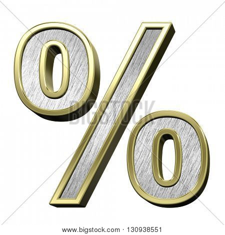 Percent sign from brushed stainless steel with gold frame alphabet set, isolated on white. 3D illustration.