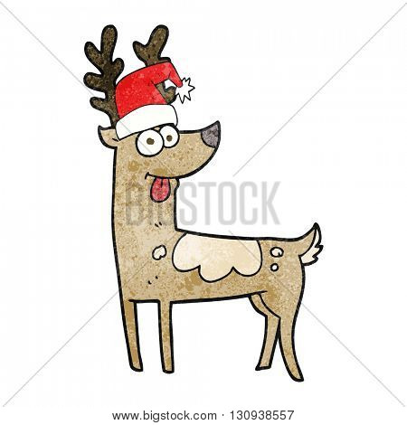 freehand textured cartoon crazy reindeer