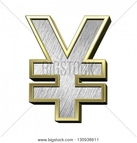 Yen sign from brushed stainless steel with gold frame alphabet set, isolated on white. 3D illustration.