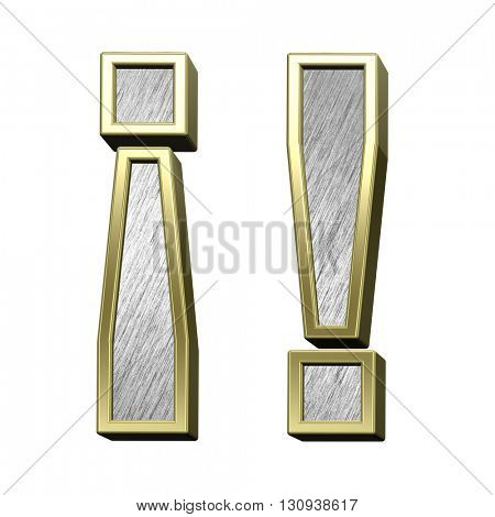 Exclamation mark from brushed stainless steel with gold frame alphabet set, isolated on white. 3D illustration.