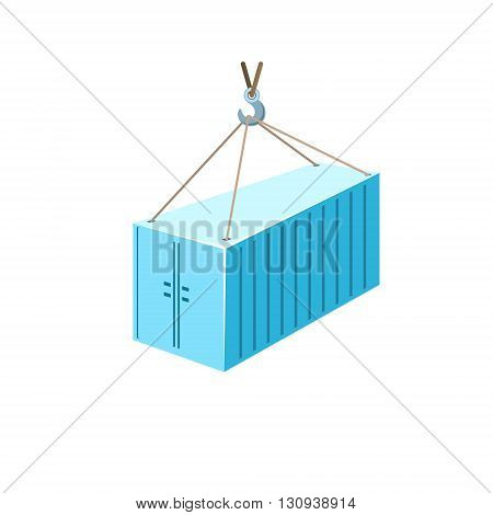 Blue Container with Crane Isolated on White, Container Hanging on Crane Hook, Vector Illustration
