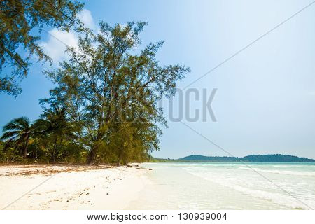 Summer seascape on tropical island Koh Rong in Cambodia. Landscape of south east Asia.