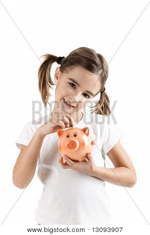 Little Girl With A Piggy-bank