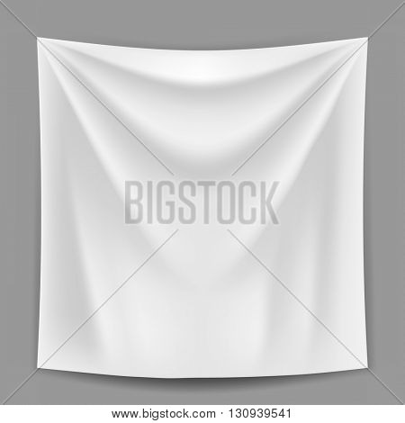Blank white banner hanging on the grey wall vector template. Advertising banner or announcement banner mockup. Gradient mesh used.