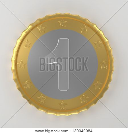 Coin with value one on the table 3d render