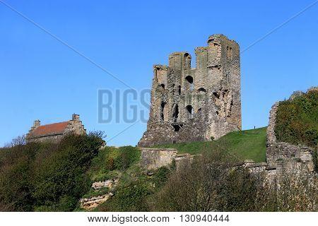 Scarborough Castle Keep, North Yorkshire, England.