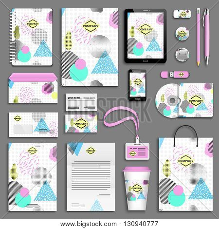 Geometric trendy 80s retro Corporate identity template set. Business stationery mock-up with logo. Branding design. Funky hipster texture for phone case, poster, textile, art print.