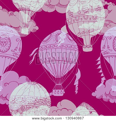 Seamless pattern with clouds and hot air balloons. Hand drawn sketches. Vector Illustration