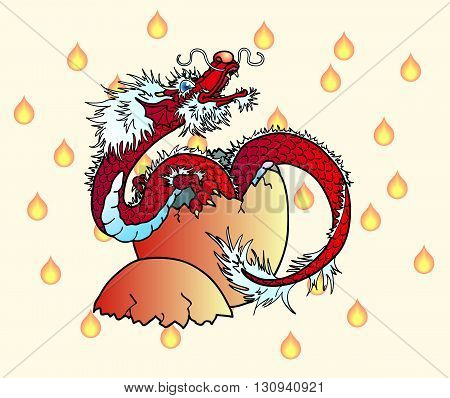 Newborn red fiery asian dragon against tongues of flame