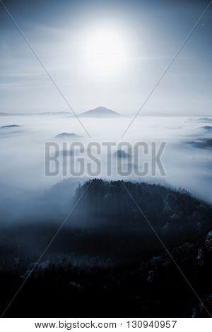 Full Moon Night. Fairy Misty Night  In Mountain Of Bohemian-saxony Switzerland. Hills Like Islands