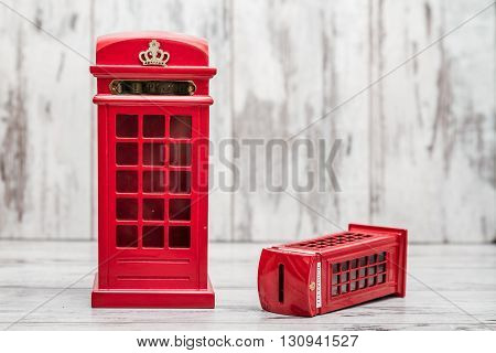 Decorative Money Box As Classic British Red Phone Booth