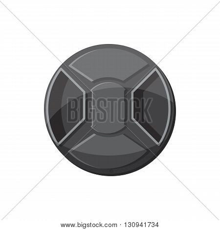 Cover on lens camera icon in cartoon style isolated on white background. Components for  photo shooting symbol