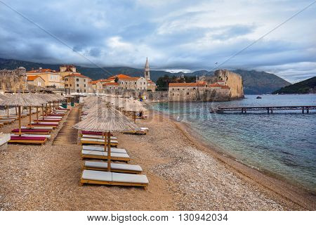Beach and Old Town in Budva Montenegro - travel background
