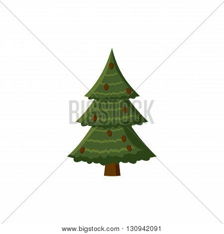 Spruce with cones icon in cartoon style isolated on white background. Nature and flora  symbol