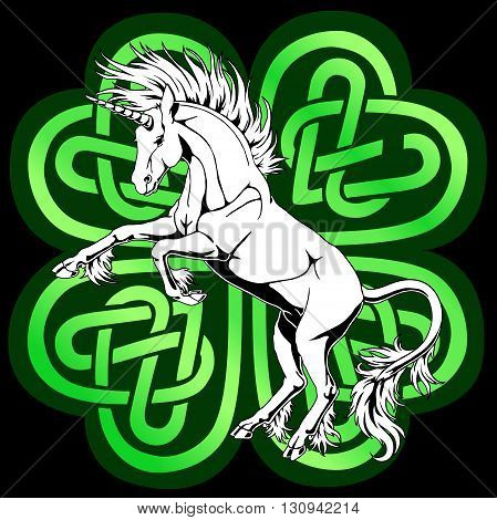 The proud white unicorn who got on hind legs against a Celtic four-leaved clover