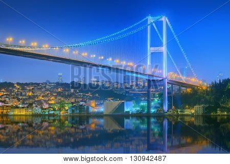 View of Bosphorus bridge at night Istanbul, Turkey