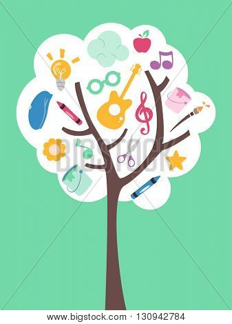 Illustration of a Tree Filled with Music and Art Related Items