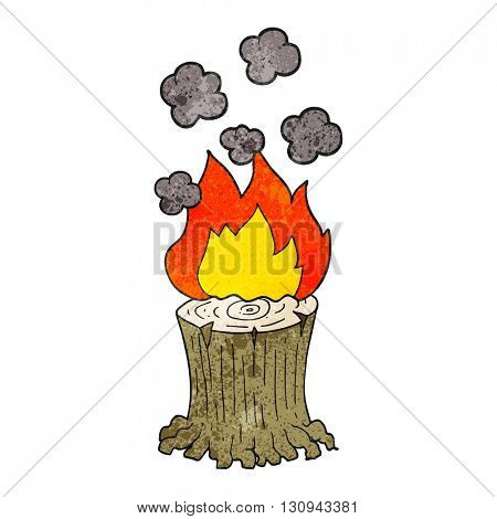 freehand textured cartoon burning tree stump