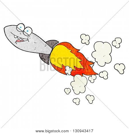 freehand textured cartoon missile