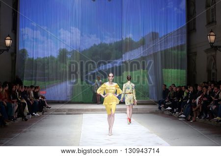 ZAGREB CROATIA - APRIL 21 2016 : Fashion model wearing clothes designed by TWINS by Begovic i Stimac on the Cro a Porter fashion show at Klovicevi Dvori in Zagreb Croatia.