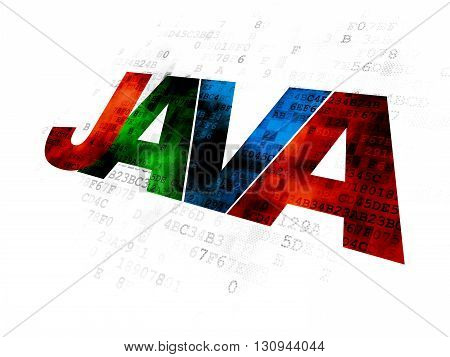 Software concept: Pixelated multicolor text Java on Digital background