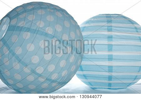 Blue paper light shade with spots and stripes