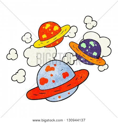 freehand textured cartoon planets