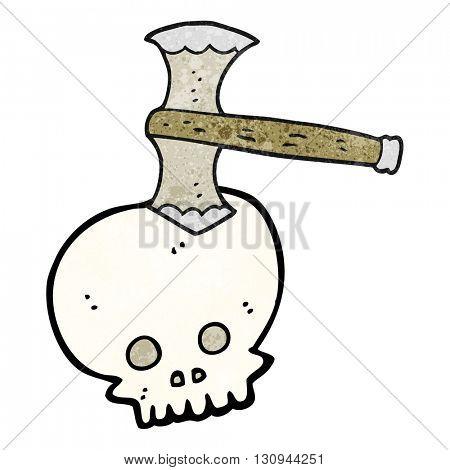 freehand textured cartoon axe in skull
