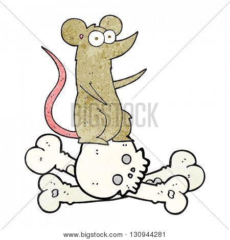 freehand textured cartoon rat on bones