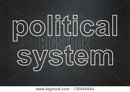 Politics concept: text Political System on Black chalkboard background