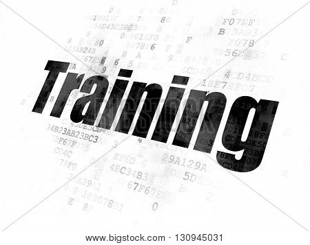 Learning concept: Pixelated black text Training on Digital background
