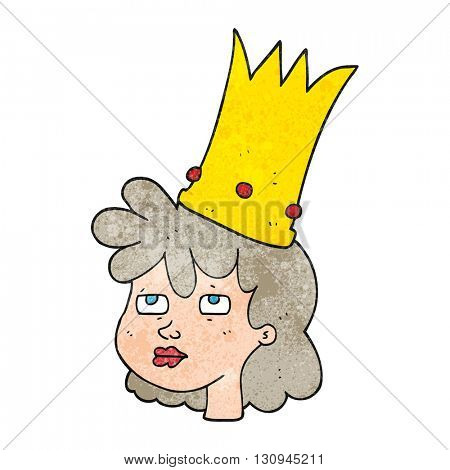 freehand textured cartoon queen with crown