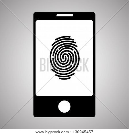 Smartphone fingerprint. Simple icon. Vector illustration isolated on background
