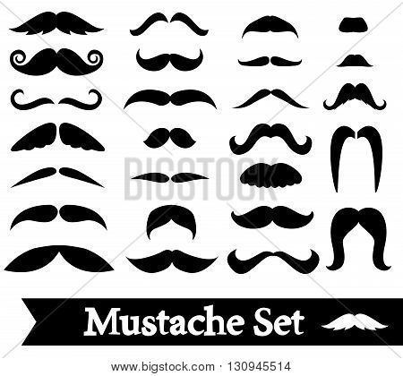 Set of vector mustache isolated on white background