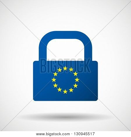 Isolated Lock Pad Icon With    The Eu Flag Stars