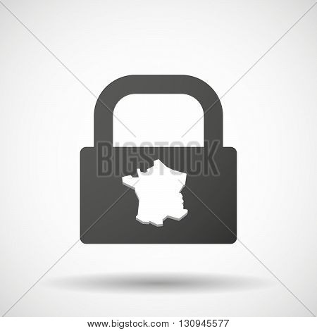 Isolated Lock Pad Icon With  The Map Of France